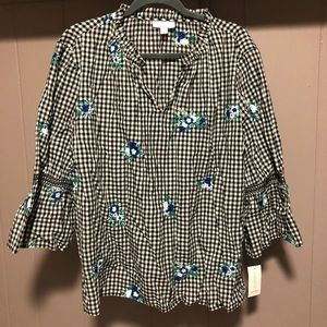 NWT Charter Club Plaid with floral Embroidery Top